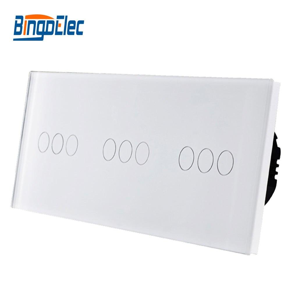 Bingo elec commutateur de contact de style de L'UE, Normale 9 gang 1way cristal verre panneau tactile interrupteur de lumière, AC110-250V Vente Chaude