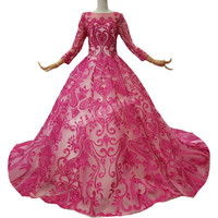 2018 Rose Red Lace Scoop Court Train Ball Gown Long Sleeves Party Prom Dress Illusion Evening Dress Vestido De Festa Real photo