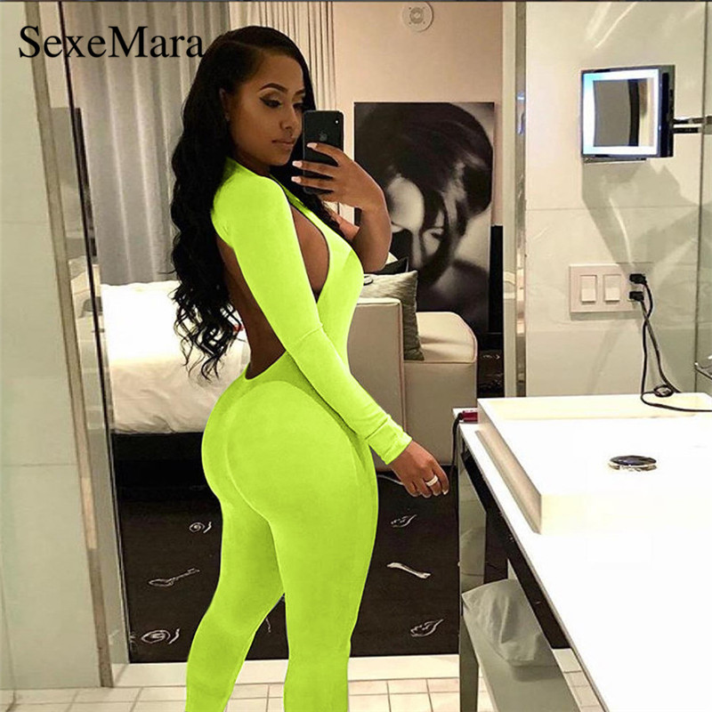8bd7516f472 One Shoulder Long Sleeve Bodycon Jumpsuit Spring 2019 Neon Black Sexy  Costumes Backless Bandage Club Jumpsuits