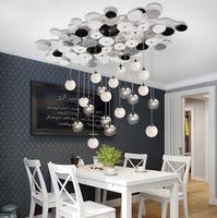 Nordic стиль Гостиная Подвеска с округлыми элементами свет стекло Металлическая лампа для столовой кофе магазин отеля Творческий зал светоди