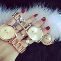 Hot Sale Geneva Gold Silver Women Dress Watch Luxury Stainless Steel Sport Quartz Jewelry Electronic Wristwatch