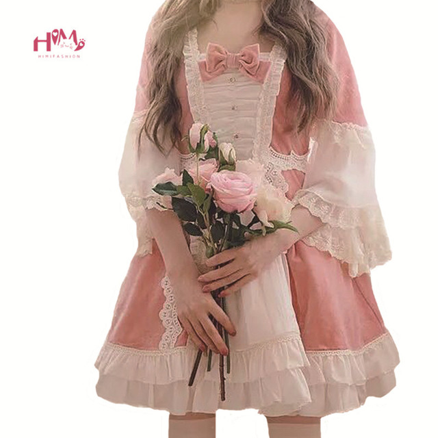 15bea3eb90 Japanese Lolita Women Pink Dress Christmas Vintage Fluffy Princess Dress Kawaii  Ruffles Lace Red Velvet Cosplay