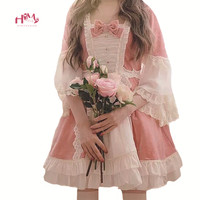 Japanese Lolita Women Pink Dress Christmas Vintage Fluffy Princess Dress Kawaii Ruffles Lace Red Velvet Cosplay Tutu Dresses