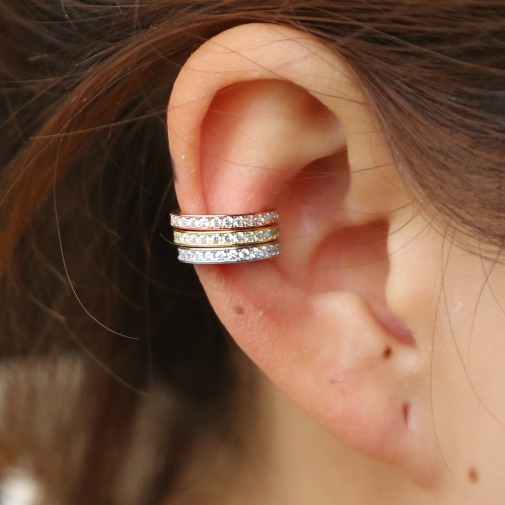 925 Sterling Silver Circle Ear Cuff Earring Body Piercing Uk