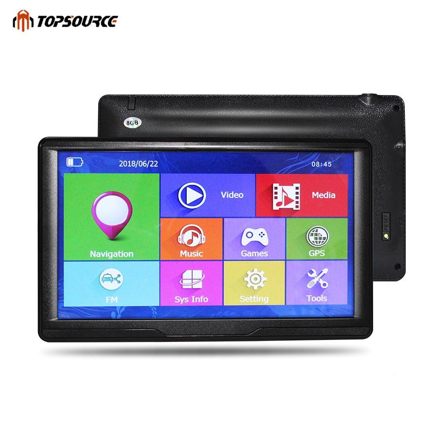 TOPSOURCE Voiture GPS Navigation HD 7 pouce Écran Capacitif ce6 Construit dans 8 gb Carte Pour L'europe/USA + canada Camion Véhicule GPS Navigator