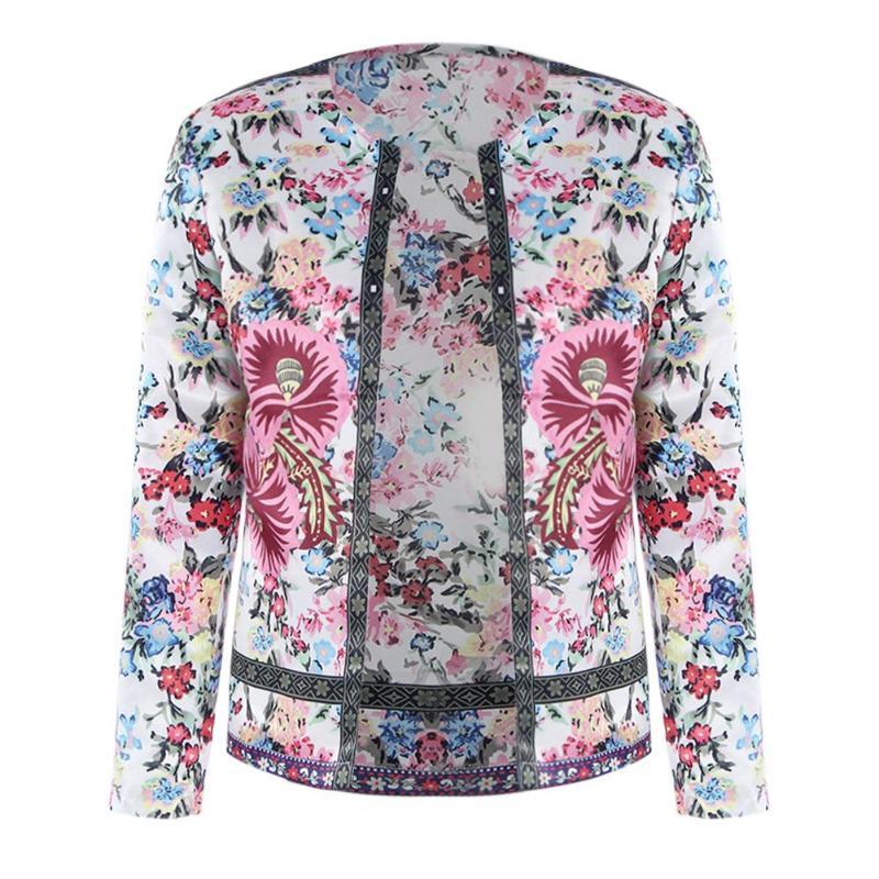 Spring Basic Jacket Ethnic Style Floral Print Women Collarless Elegant Coat