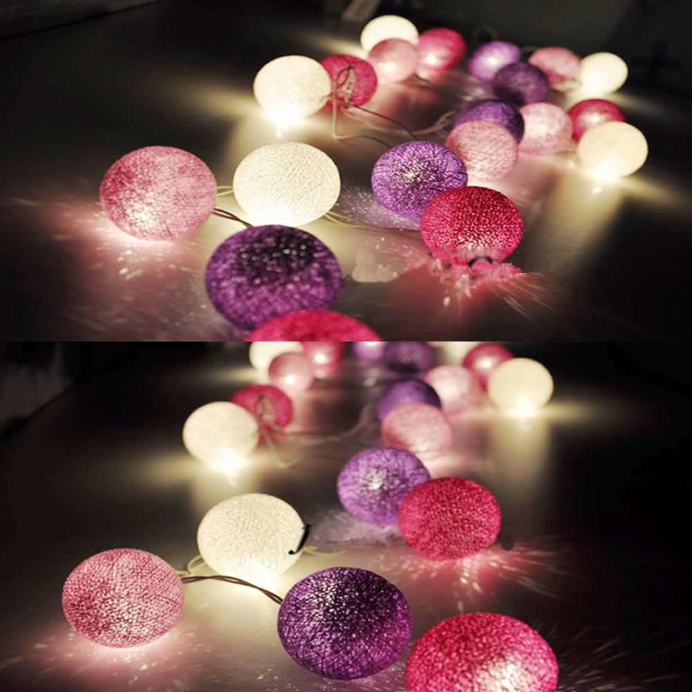 10 Aladin Cotton Ball Gorgeous Fairy String Light Lantern Purple Party Patio Tree Decor Decoration 1.8M