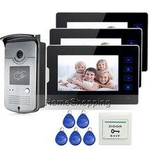 """Apartamento 7 """"Pantalla Táctil a Color LCD de Video de La Puerta Teléfono Intercom Kit 3 monitores + 1 Cámara de La Puerta de Acceso RFID En El Envío gratis"""