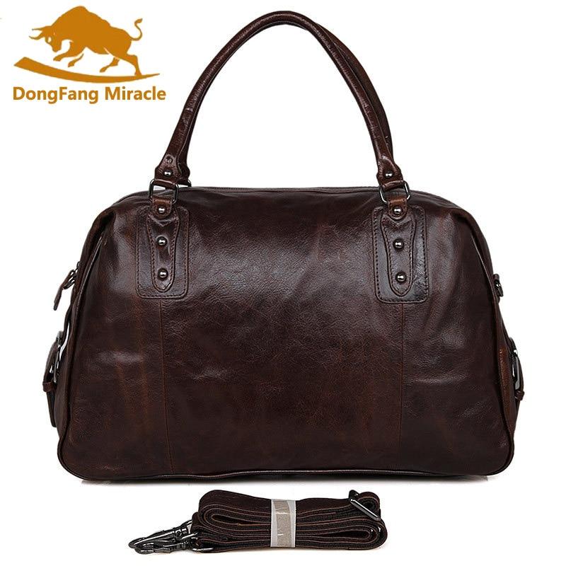"DongFang Miracke Vintage Genuine Leather Men's Classic Travel Bag Luggage Handbag Large Capacity Cross Body Duffle Bag Huge 17"" duffle bag travel bagbag luggage -"