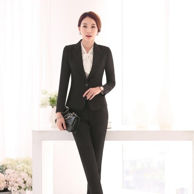 Formais Feminino Pantsuits Mulheres Pant Ternos Blazer e Casaco Define Styles Uniformes Das Senhoras De Escritório Salão de Beleza OL
