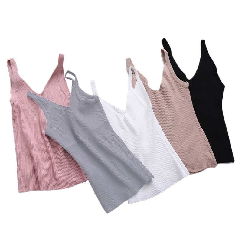 KLV Sexy Women Fashion Knitting Vest Top Sleeveless V-Neck Blouse Casual Tank Tops
