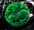 """Grade """"B"""" Natural Green Jadeite Pendants, PI XIU  jade Unisex With Certificate necklace pendant,Free shipping."""