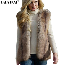 Women Faux Fur Vest Winter Long Fur Gilet Sleeveless Fur Outerwear Plus Size Fur Coat Leopard color XXXL CAP0577-5(China)
