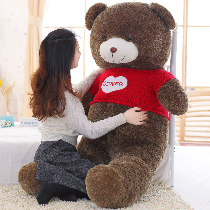 stuffed fillings toy large 160cm red sweater loves teddy bear soft doll hugging pillow birthday gift s2463stuffed fillings toy large 160cm red sweater loves teddy bear soft doll hugging pillow birthday gift s2463