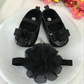Kids black  flowers Shoes  Girl Princess Lace Headband Cute Infant Girl Toddler Shoes Set Newborn Photography Props 5TX06
