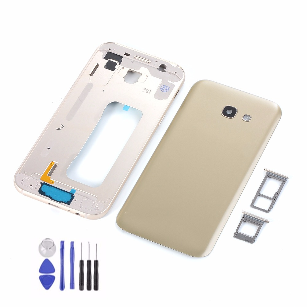 For Samsung Galaxy A5 2017 A520 A520F Housing Metal Lcd Middle Frame+Battery Back Glass Cover+Sim Card Slot+Camera Lens+Tools