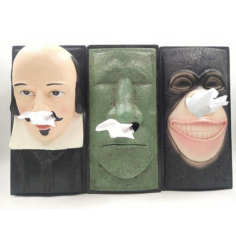 Boîte à mouchoirs décorative drôle amovible salon boîte à mouchoirs Animal singe Portrait papier toilette Type de siège titulaire