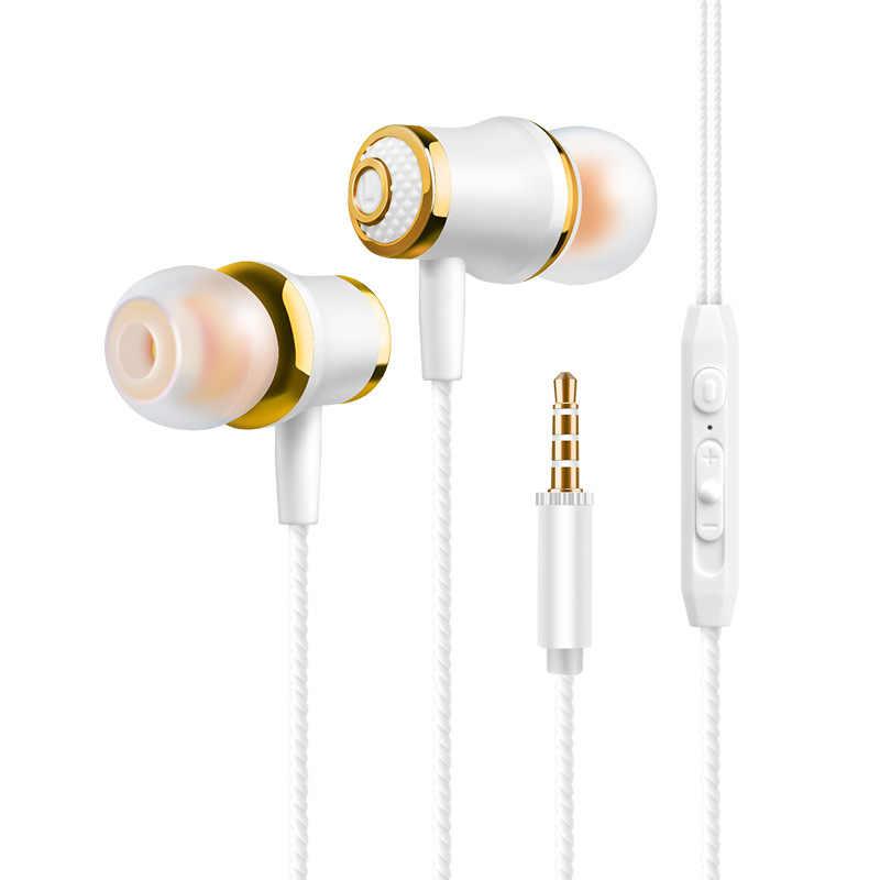 Słuchawki douszne dla Xiaomi słuchawka do telefonu zestaw słuchawkowy stereo z basami metalowa przewodowa słuchawka Hi-Fi słuchawki mikrofonem do Samsung