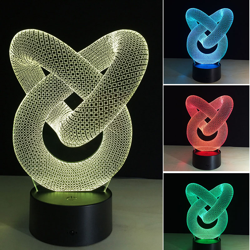 LED USB Night Lamp 3D Bulbing Light Heart Visual Illusion Lamp For Kids Colorful Gradien ...