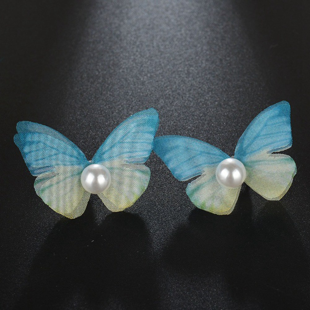 Bohemian Style Colorful Earrings Female Handmade Organza Ethereal Butterfly Imitation Pearl Temperament Earring For Women