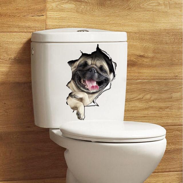 3d Dogs Toilet Seat Decals Wall Sticker Vinyl Mural Art Removable. Dog Bathroom Decor   Thedancingparent com