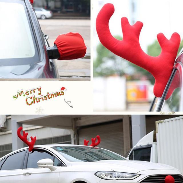 3pcsset christmas reindeer antlers car decor antlers red nose xmas deer horn christmas decorations