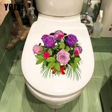 YOJA 21.3X21.6CM Criativo Rose Bouquet Vaso Sanitário Do Banheiro Flor Quartos Dos Miúdos Adesivos de Parede Dos Desenhos Animados Decor T1-1961