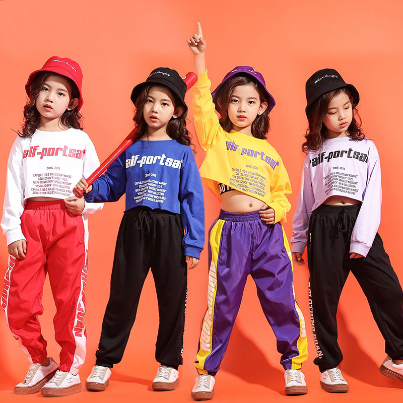 Midriff-baring Cropped Sweatshirt Jogger Pants Suit Kids Hip Hop Clothing Jazz Clothes Street Dance Costumes For Children Girls