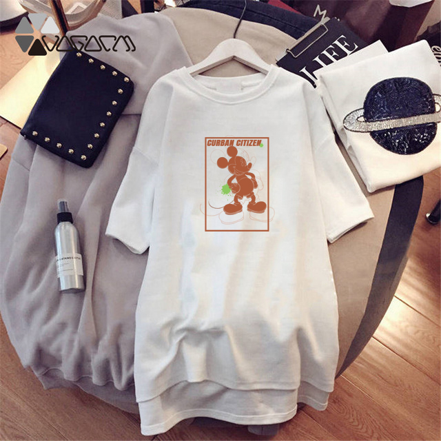 Minnie Mickey Mouse Print Clothes For Women Dresses Loose Cartoon Black Casual Plus Size Fashion M 4XL Streetwear in Dresses from Women 39 s Clothing