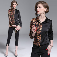 Will stand in Europe during the spring and autumn the new European goods sexy leopard stitching shirt long sleeve shirts western