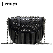 JIEROTYX Original Design Women Bags Leather Diamonds Shoulder Sexy Rivet Bag Lady Small Black Tassel Chains