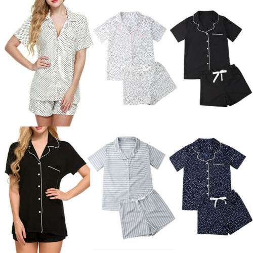 Casual New Women Loose   Pajamas     Sets   Dot Print Summer Short Sleeves Shirts+Pants Sleepwear Nightwear Woman   Pajama   Homewear Robe