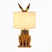 Modern Golden Table Lamps Fabric Lampshade Night Lights Animal Design Lamp Simple Reading Little Light Resin