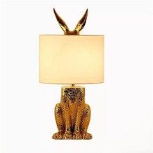 Modern Golden Table Lamps Fabric Lampshade Night Lights Animal Design Lamp Simple Reading Little Light Resin