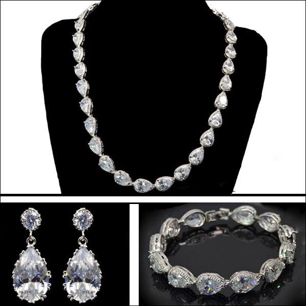 New Design Pear Shape Cut Zircon Stone Necklace Earring Bracelet Jewelry Set Aaa Cubic Zirconia In Sets From Accessories On