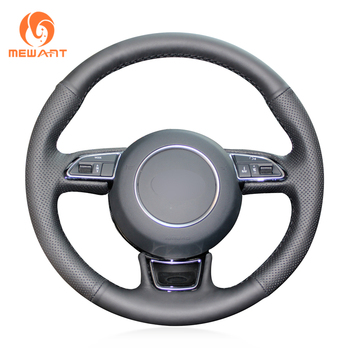 Black Artificial Leather Car Steering Wheel Cover for Audi A1 8X A3 8V Sportback A4 B8 Avant A5 8T A6 C7 A7 G8 A8 D4 Q3 8U Q5 8R