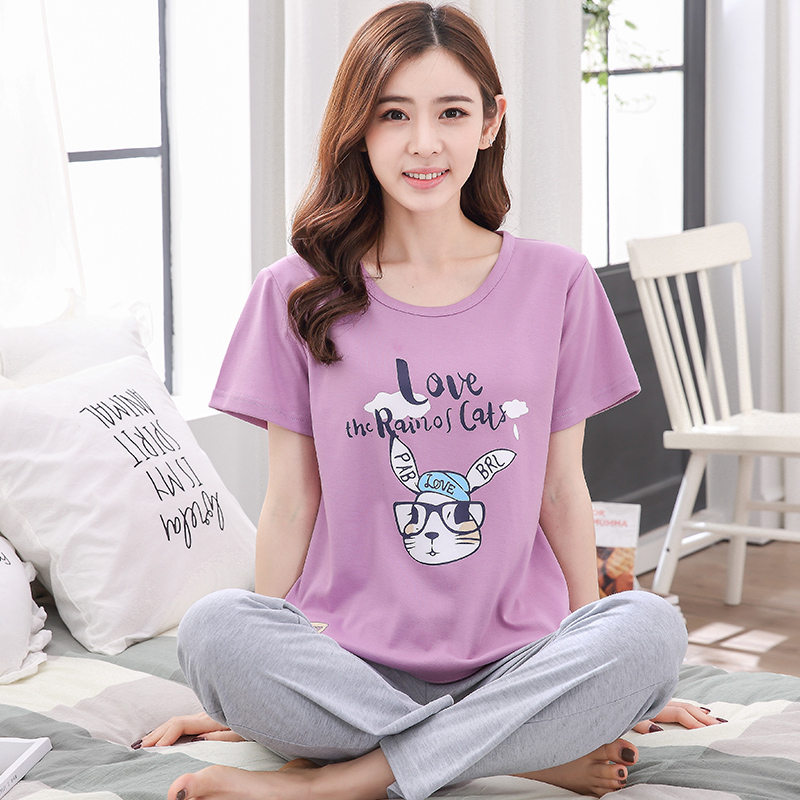 Plus Size XXXL Cotton   Pajamas     Sets   for Women 2018 Summer Girls Cute Cartoon Pyjamas Long Pants Sleepwear Homewear Home Clothing