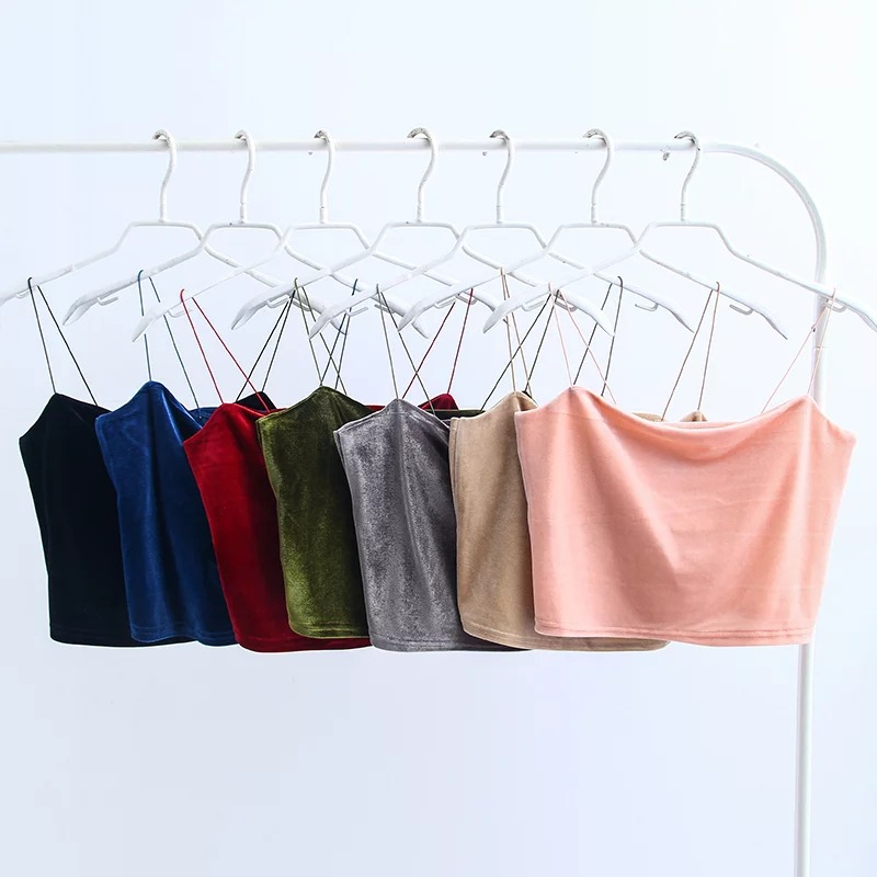 HTB1YAZpjfBNTKJjy0Fdq6APpVXa6 - Fashion Sexy Spaghetti Straps Tank Top Velvet Short Crop Top 7 Colors Sexy Boob Tube Top Bustier Brief Vest T-shirts Tee