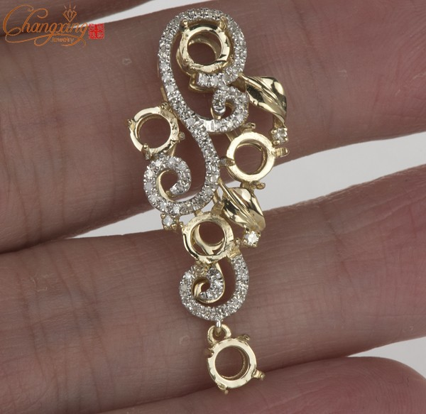 Gold pendant settings light collections light ideas 5 stones 45mm solid 14k yellow gold natural diamond semi mount 5 stones 45mm solid 14k mozeypictures Choice Image