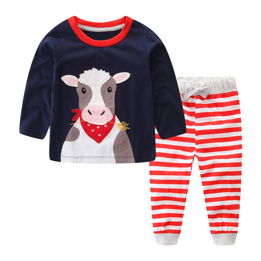 Littlemandy Cow Boys Clothing Set Children Sports Suits Kids Fashion Autumn 2018 Baby Clothes Animal Applique Tops Pants Outfits baby boys fashion suits 2017 winter fleece coats rabbit tops pants kids outfits 2pcs set suits children s warm clothing sherry
