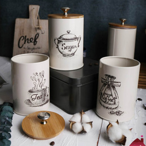 Image 3 - 3 ชิ้นถังโลหะชุดกล่องเก็บอาหารแห้งสำหรับเคาน์เตอร์ครัว,ชากาแฟน้ำตาลกระป๋อง