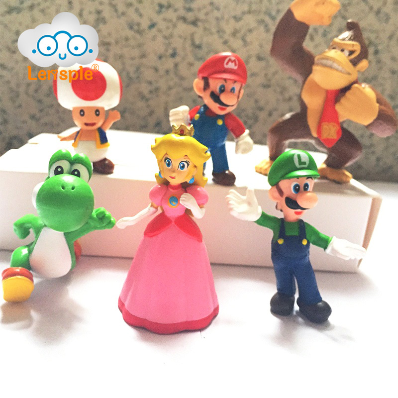 Lensple 6pcs/set Super Mario Bros Luigi Wario Yoshi Mushroom Assemble Block Brick Action Figures Model Best Gifts For Kids