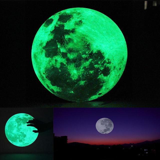 Glow In The Dark Wall Murals aliexpress : buy 1pcs 30cm large moon glow in the dark