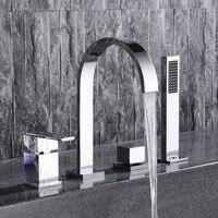 HPB Chrome Brass Bồn Tắm Vòi Mixer Tap Hoa Sen Cầm Tay Với đầu Sàn Mounted Tắm 4 cái Tắm Mixer Tap Set HP5305