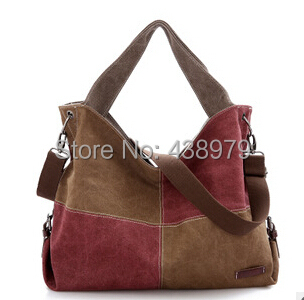 ФОТО New design panelled contrast color Women's Canvas Handbag,shoulder bag free shipping