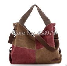 Neue design getäfelten kontrast farbe frauen Leinwand Handtasche, schultertasche kostenloser versand