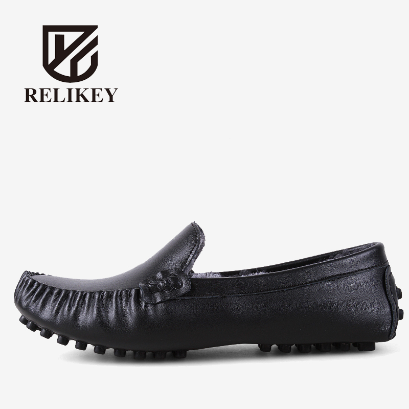 RELIKEY Brand Men Winter Loafers High Quality Handmade Genuine Leather Shoes Soft Driving Male Flats Casual Moccasins for Men men s genuine leather casual shoes handmade loafers for male men waterproof flat driving shoes flats
