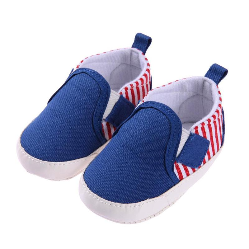 Baby Boys Shoes Summer Unisex Baby Infant Slip-On Leisure Sports Shoes Toddler Elastic Striped First Walkers
