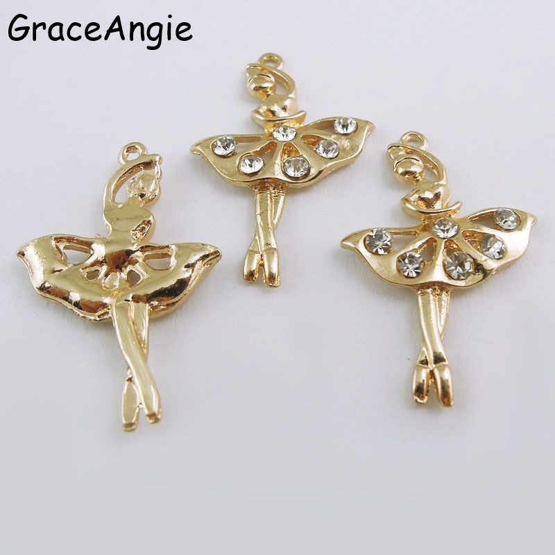 8pcs Crystal Statement Charms Maxi Alloy Gold Dance BALLET Girl Fairy Angel For Necklace Chain Pendant Fashion Jewelry