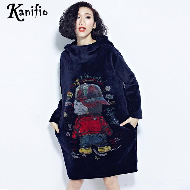 Kanifio Plus Size Women Gold Velvet Hooded Sweatshirt Dress Lady Casual  Loose Print Dresses Female Warm Shirt Tunics Vestidios 5d607a7e89